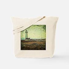 coastal nautical vintage lighthouse Tote Bag