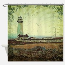 coastal nautical vintage lighthouse Shower Curtain