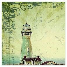 coastal nautical vintage lighthouse Poster