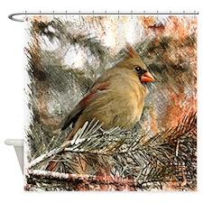 christmas winter wild bird Shower Curtain