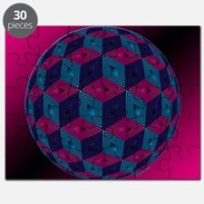 Spherized Pink, Purple, Blue and Black Hexa Puzzle