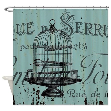 french scripts vintage birdcage shower curtain