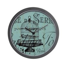 french scripts vintage birdcage Wall Clock