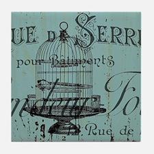 french scripts vintage birdcage Tile Coaster