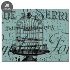 french scripts vintage birdcage Puzzle