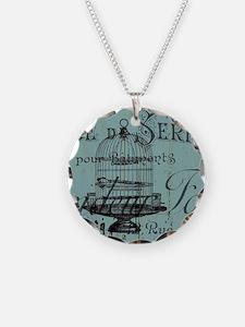 french scripts vintage birdc Necklace