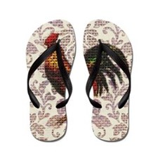 french country vintage rooster Flip Flops