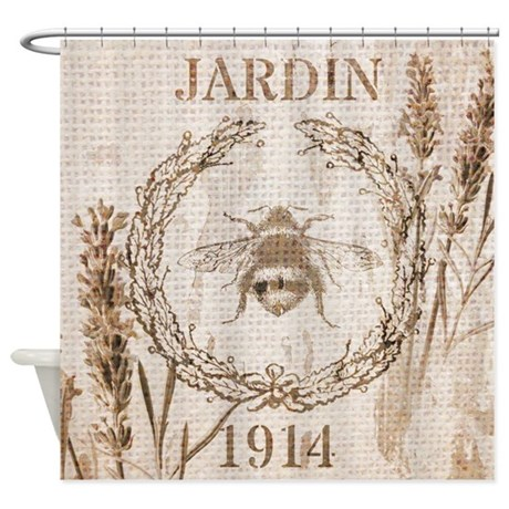burlap french vintage bee shower curtain