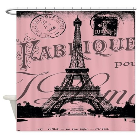 Modern Girly Pink Paris Shower Curtain By ADMIN CP62325139