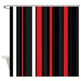 Black red white stripes shower curtai Shower Curtains