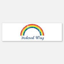 Federal Way (vintage rainbow) Bumper Bumper Bumper Sticker