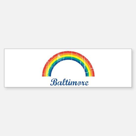 Baltimore (vintage rainbow) Bumper Car Car Sticker