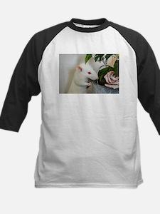 White Pet Rat with Rose Baseball Jersey