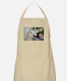 White Pet Rat with Rose Apron