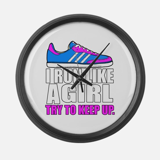 Run Like A Girl  Large Wall Clock