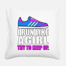Run Like A Girl  Square Canvas Pillow
