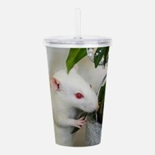 White Pet Rat with Ros Acrylic Double-wall Tumbler