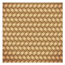 Faux Wicker Wood Weave Invitations