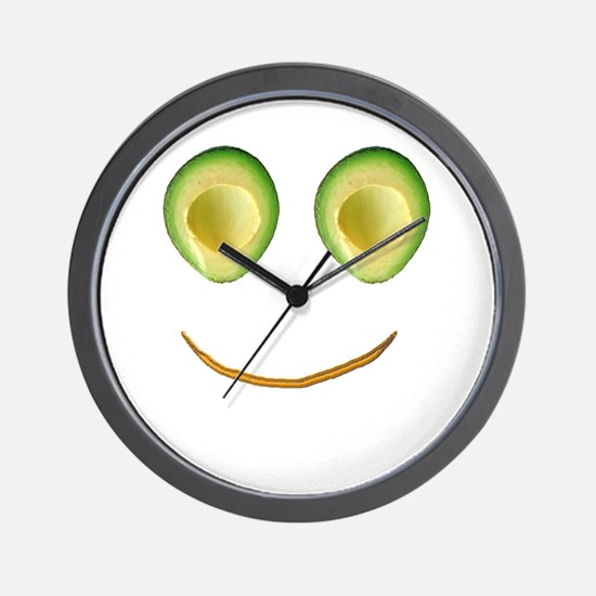 Cute Avocado Face Rieko's Fave Wall Clock