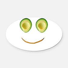 Cute Avocado Face Rieko's Fave Oval Car Magnet