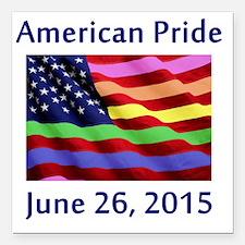 "American Pride Square Car Magnet 3"" x 3"""