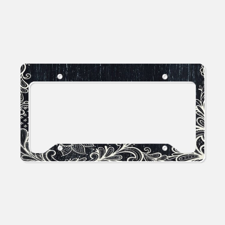 white lace black chalkboard License Plate Holder