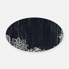 white lace black chalkboard Oval Car Magnet