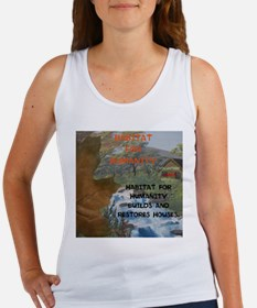 HFH BUILDS AND RESTORES HOUSES. Women's Tank Top