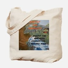 HFH BUILDS AND RESTORES HOUSES. Tote Bag