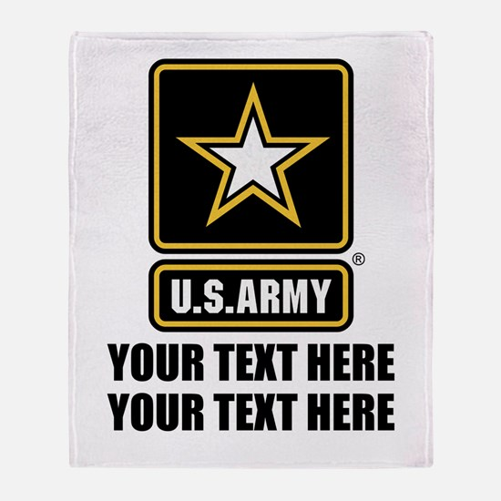 CUSTOM TEXT U.S. Army Throw Blanket