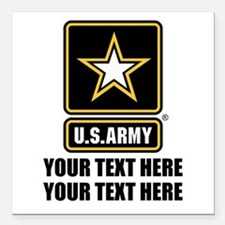 "CUSTOM TEXT U.S. Army Square Car Magnet 3"" x 3"""