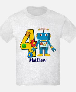 4th Birthday Robot Custom T-Shirt