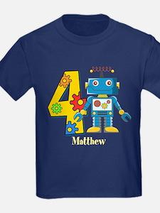 4th Birthday Robot Custom T