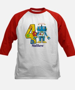 4th Birthday Robot Custom Kids Baseball Jersey