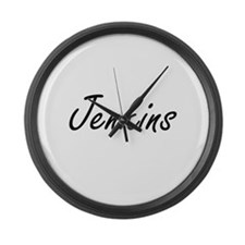 Jenkins surname artistic design Large Wall Clock