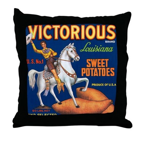 Victorious Fruit Crate Label Throw Pillow