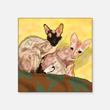 "Tiger and George - the Corn Square Sticker 3"" x 3"""
