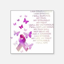 "Pink Ribbon, the Fight Square Sticker 3"" x 3"""