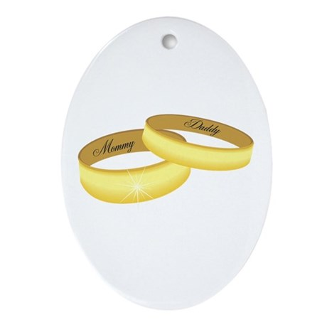 Mommy & Daddy rings Oval Ornament