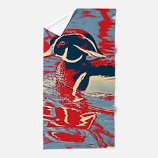 wild lake wood duck Beach Towel