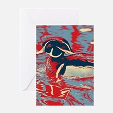 wild lake wood duck Greeting Cards