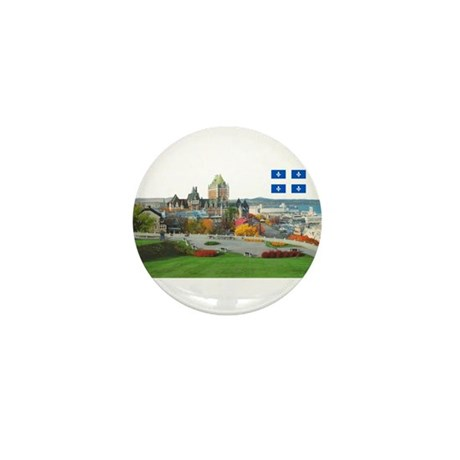 Old Quebec Pano with one Flag Mini Button (10 pack
