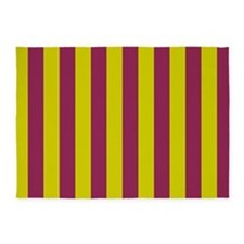Chartreuse and Plum Stripes 5'x7'Area Rug