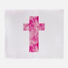 Pink Rose Petal Ethereal Catholic Cr Throw Blanket