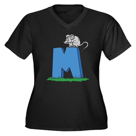 M For Mouse Women's Plus Size V-Neck Dark T-Shirt