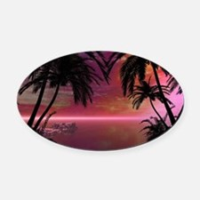 Awesome tropical sunset Oval Car Magnet