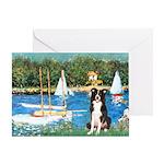 Sailboats & Border Collie Greeting Card
