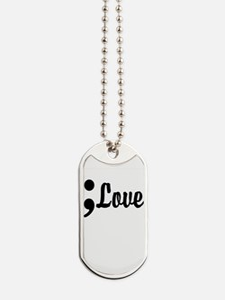 Love Semicolon Dog Tags