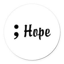Hope Semicolon Round Car Magnet