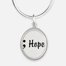 Hope Semicolon Silver Oval Necklace